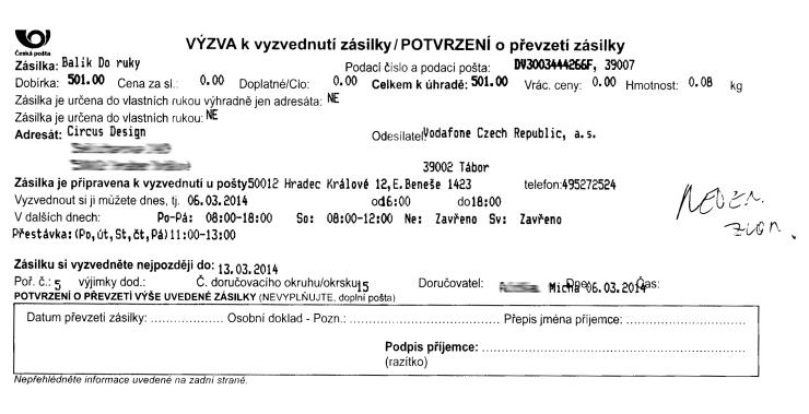 Výzva k vyzvednutí zásilky české pošty
