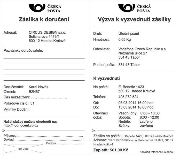 Vlevo čelní strana formuláře, vpravo zadní strana viditelná po odlepení.