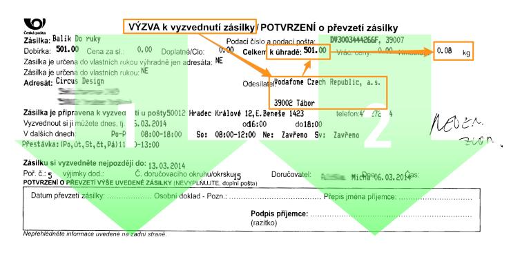 Výzva k vyzvednutí zásilky české pošty - čtení formuláře